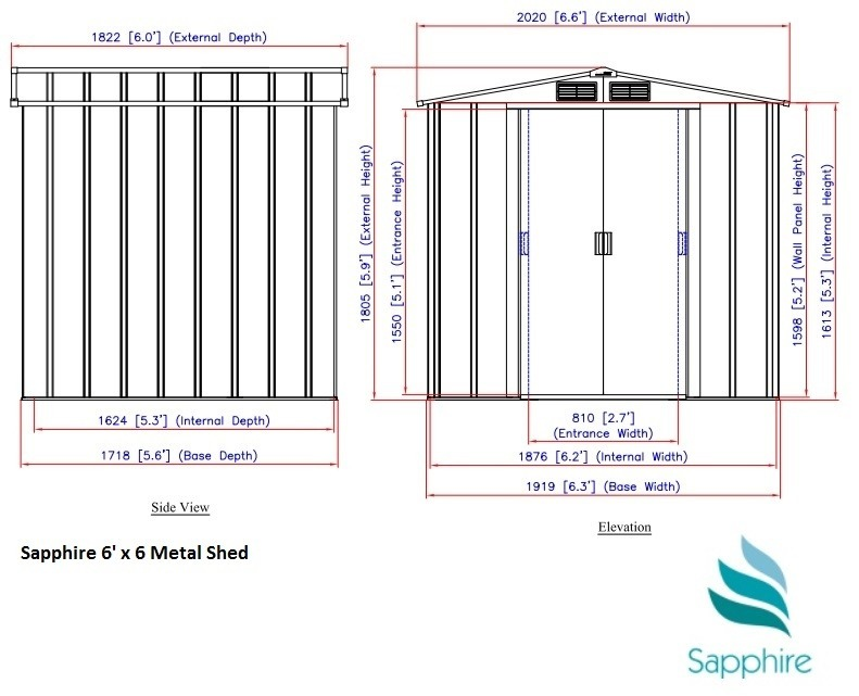 SM Garden Sheds Sapphire 6x6 Metal Shed - Anthracite (RESALE)